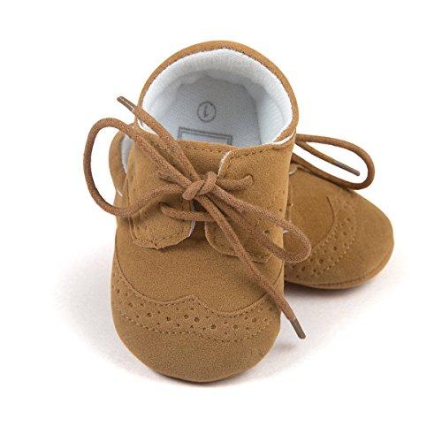 ESTAMICO Baby Jungen PU Schnürsenkel Lauflernschuhe Kleinkind Sneaker Braun 6-12 Monate