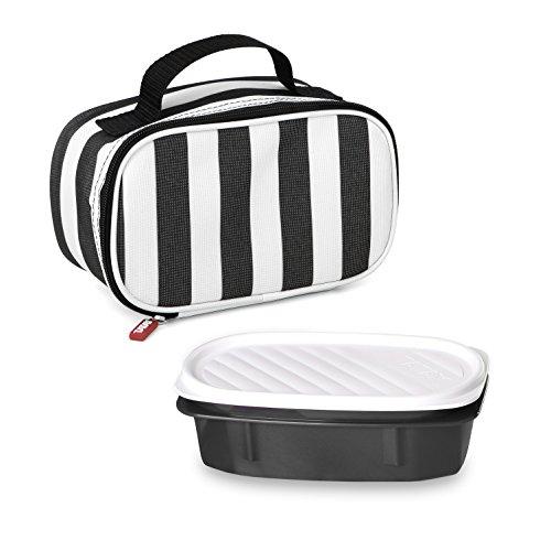 Tatay Urban Food Mini bolsa térmica porta alimentos con fiambrera incluida, Negro / Blanco, 21.5 x 9 x 12 cm