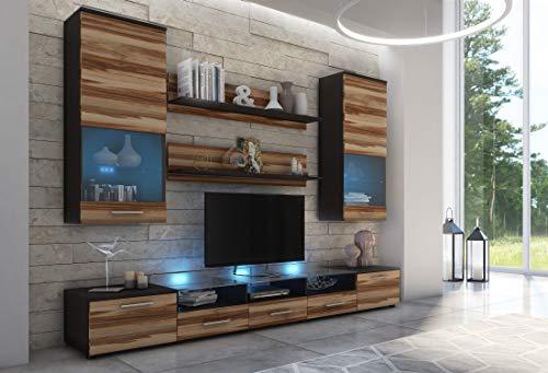 Furniture24 Wohnwand Cama II, Anbauwand, 2 x TV Lowboard, Vitrine, Wandregal, Mediawand, Modernes Wohnzimmer Set mit 2 Klapptüren, 2 Türen, 3 Schubladen und Blauer LED Beleuchtung (Wenge/Baltimore)