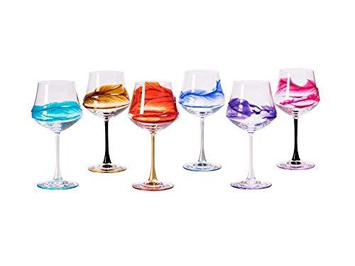 Set von 6 Weinglas Ego cl. 43 multicolour von Hand bemalt Glas, Murano Venedig Stil