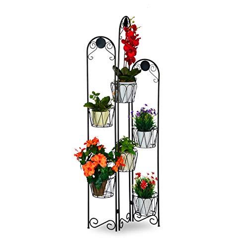 Relaxdays, schwarz Blumenständer Metall, Paravent für Blumentöpfe, 6 Ablagen, Blumentreppe Indoor & Outdoor, H: 140 cm