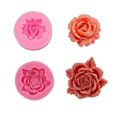 Yiicon 2PCS Making Rose Flower Fondant 3d DIY Form Handmade Decorating Moulds Fondant Chocolate Cake Decorating Tool Kitchen Baking Tools