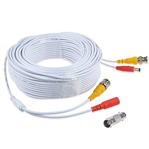 Digipartspower 150ft White BNC Connector Video Power Wire Cord for Q-See Camera Cable QT5440 QT228