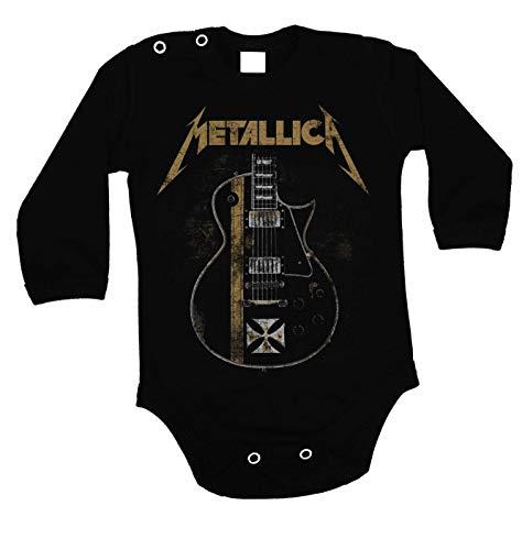 Lulchev Design Metallica Guitar Hetfield Iron Cross Baby Body Prime Quality Langarm (Schwarz, 62)