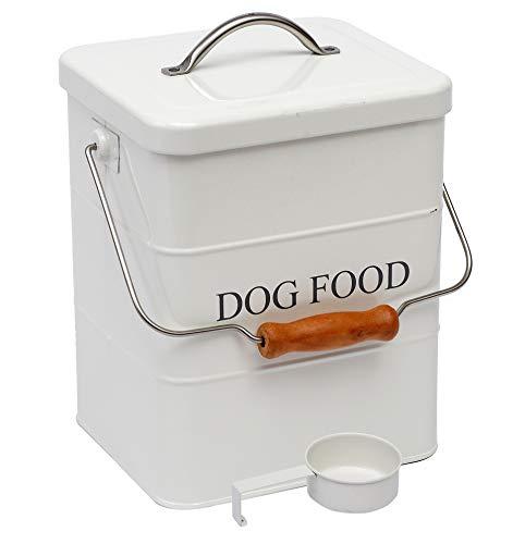 Aufbewahrungsdose für Hundeleckerli und Futter mit Deckel und Schaufel im Lieferumfang enthalten – weißes Pulver – Karbonstahl – Tierfutterbehälter – Aufbewahrungsdose – Hundefutter – Weiß
