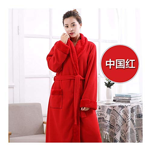 GAOHUI Damen Winter Warm Home Hotel Flanell Bademantel Lange Ärmel Dicker Reine Farbe Schlafanzug, China Rot, L