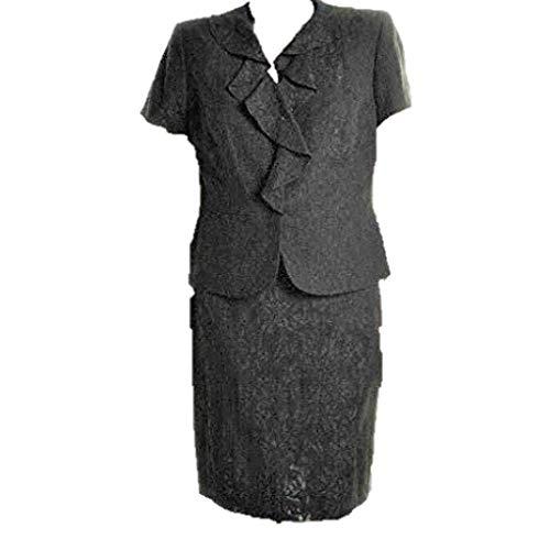 Nipon Boutique Womens $199 Jet Black Sheen Ruffle Neck 2PC Skirt Suit SZ 6 NWT