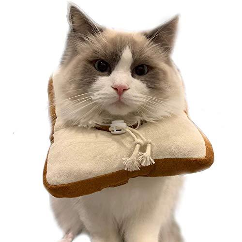 Ankino Toast Bread-Shaped Cat Headdress with Buckle, Creative Cotton Bread Slice Collar for Cat,Pet Cat Cosplay Makeup Cap, Cat Dressing Up Props, Pet Headgear, Cat Elizabeth Collar