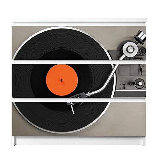 banjado Möbelfolie passend für IKEA Malm Kommode 3 Schubladen | Möbel-Sticker selbstklebend | Aufkleber Tattoo perfekt für Wohnzimmer und Kinderzimmer | Klebefolie Motiv Plattenspieler
