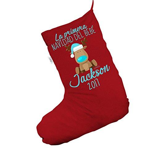 Personalizzato Navidad del bebé renna Jumbo rosso 'calza di Natale