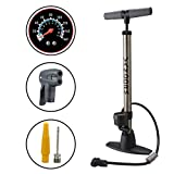Vandorm Legend VII Track Pump Bicycle Cycle Alloy Floor Track Tyre Inflator Schrader/Presta valve tube Bike Pump with Gauge & FREE Tool Pod Airbed Football Adaptor