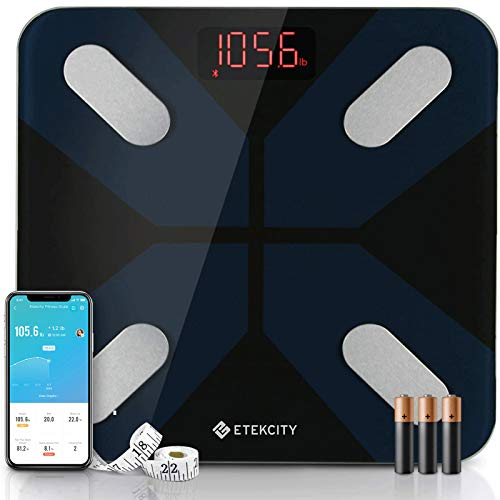 Etekcity Weight Scale, Smart Body Fat Scale, Bathroom Bluetooth Digital Scale Tracks 13 Key Compositions Analyzer, 6mm-Thick Glass, 400 lbs