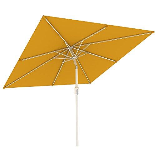 paramondo interpara Sonnenschirm quadratisch 3 x 3m gelb + Gestell Silber, Hochwertiger Gartenschirm Marktschirm knickbar, Stabiler Terrasse Balkon Sonnenschirm eckig mit Kurbel