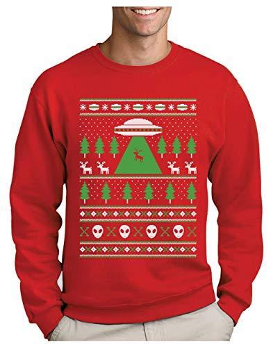 Green Turtle Sudadera para Hombre - Jersey de Navidad Regalo Geek Reno Espacio Extraterrestres Large Rojo