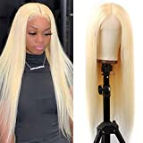 613 Blonde Human Hair Wigs Deep Middle Part Lace Wig Brazilian Straight Human Hair Wigs Blonde Lace Front Wig Pre Plucked with Baby Hair Transparent Lace Wig (40 inch, 13x1 Straight)