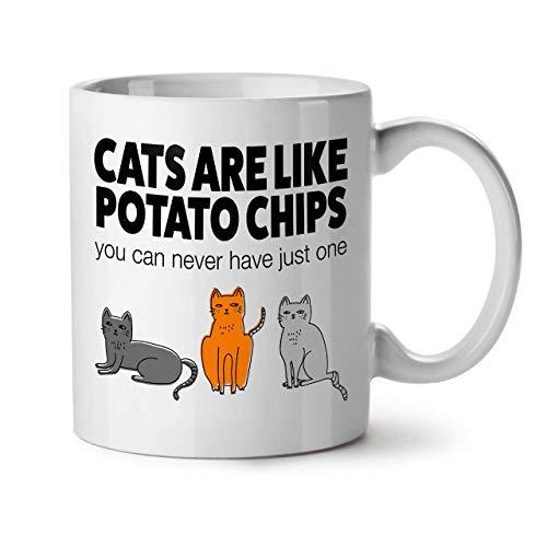 Wellcoda Katzen Kartoffel Pommes Frites Keramiktasse, Lustig - 11 oz Tasse - Großer, Easy-Grip-Griff, Zwei-seitiger Druck, Ideal für Kaffee- und Teetrinker