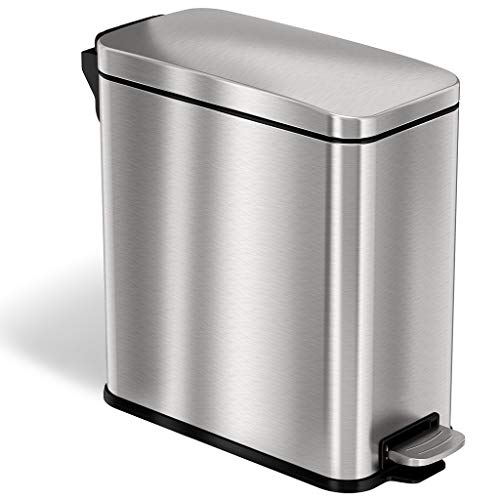 iTouchless SoftStep 3 Gallon Slim Step Trash Can with AbsorbX Odor Filter & Removable Inner Bucket, Pedal Garbage Bin for Bathroom, Bedroom, and Business Office Cubicle, Stainless Steel 03 Gal