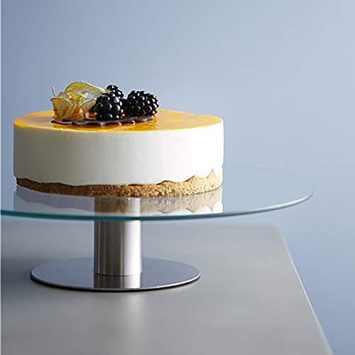 Tortenständer, Glas/Edelstahl, drehbar, Ø30x7cm - Kuchenplatte Gebäckständer Tortenplatte Tortenteller Kuchenteller Kuchenständer