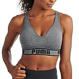 PUMA Women's Seamless Sports Bra, Grey/Black, Large