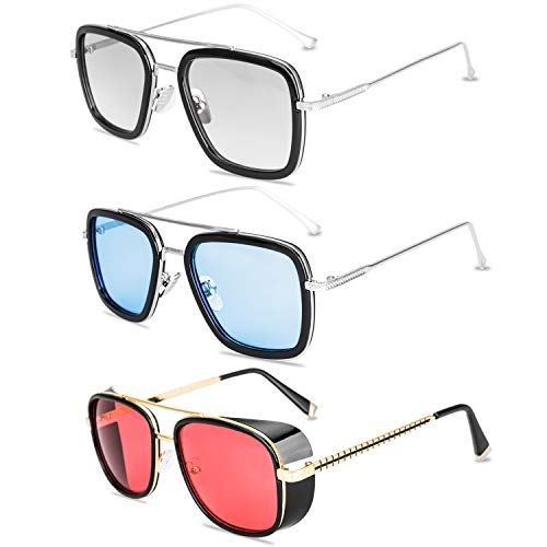 Jannel Tony Stark Sunglasses Square Metal Frame