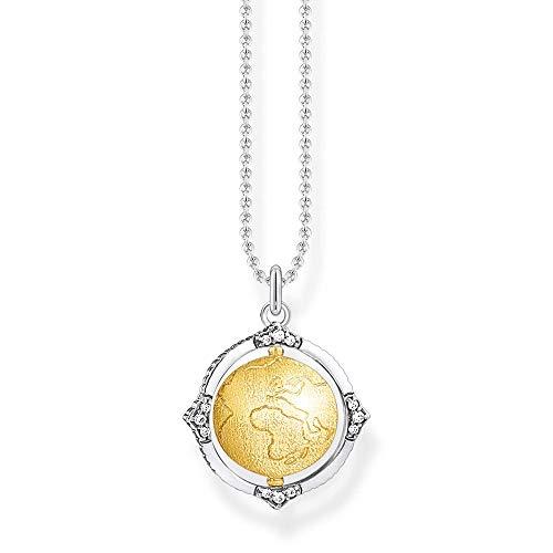 Thomas Sabo - Collar para mujer, diseño de bola del mundo, plata de ley 925, 38-42 cm de longitud