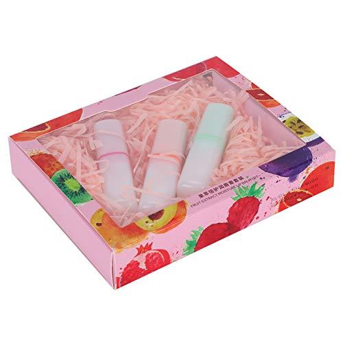 Hydrating Lip Luminizers Fruchtextrakt Feuchtigkeitsspendender, pflegender Lippenbalsam Hydrating Repair Care Lippenbalsam für trockene, rissige Lippen 3,5 g x 3 Stück(03# Apfel + Kirsche + Orange)