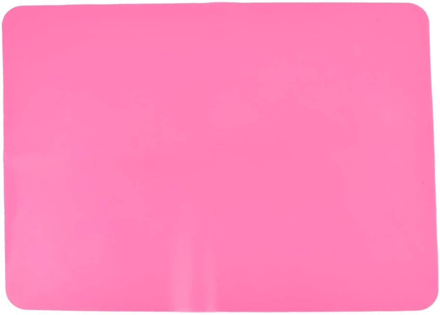 1Pc Pink   Silicone Kitchen Tablewear Placemat Tablet Pad Mat Coaster 40x30cm Pink