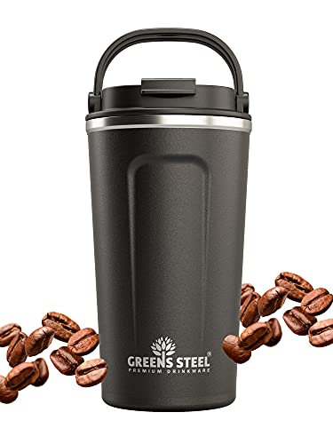 Reusable Coffee Cup with Lid and Handle - Stainless Steel Insulated Coffee Mug for Hot & Cold Drinks - Ideal Travel Mugs - 100% Leak-Proof Tumbler - 16 oz black