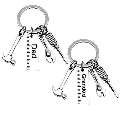 Papa Schlüsselanhänger, Papa Schlüsselbund Opa Schlüsselring mit Werkzeug Dekoration - Hammer/Schraubendreher/Schraubenschlüssel/Lineal zum Geburtstag Vatertag 2St
