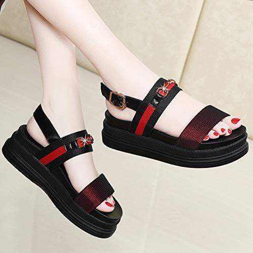 Shukun Sandales Escarpins Romains Chaussures Sandales Femme Fond Plat été été personnalité AugHommestation Occasionnelle Chaussures Femmes épais Fond Muffin Chaussures de Plage  pas cher