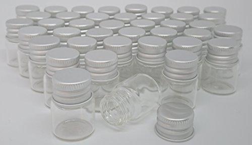 【narunaru】 アルミキャップ ミニガラスボトル 容量 5ml サイズ 22ミリ×30ミリ 40本セット ガラス瓶 ガラスボトル ねじ式キャップ