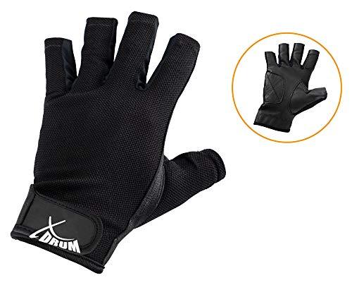 XDrum Drummer Handschuhe L (Größe L, mit abgeschnittenen Fingern, Innenfläche Leder, Außenseite Mesh) Schwarz