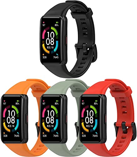 Classicase Compatible con Huawei Watch Fit/Huawei Fit Correa de Reloj, Banda de Reemplazo Silicona Suave Sports Pulsera (4-Pack H)