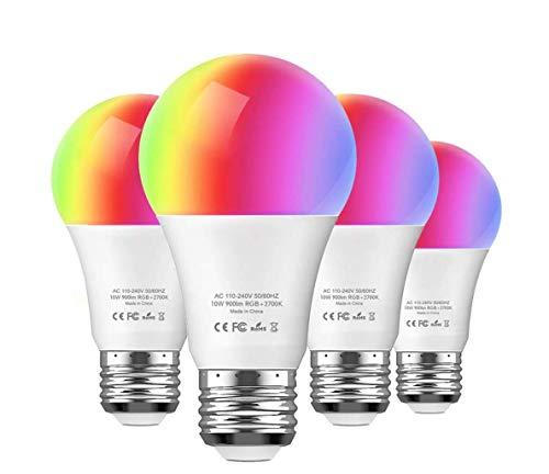 Smart Led Lampe E27 4er Pack, Wifi Glühbirne Mehrfarbige Dimmbare Lampe, Aoycocr Smart Home Lampe, A60, 6500 Kelvin, 750 Lumen, Ersetzt 70 W, Wifi Bulb Kompatibel mit Alexa Google Home