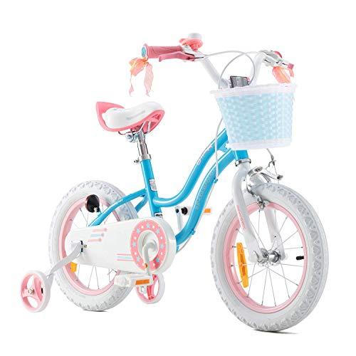 RoyalBaby Bicicleta de Niño niña Stargirl Ruedas auxiliares Bicicletas Infantiles Bicicleta para niños 18 Pulgadas Azul