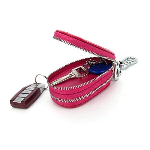 DOUWAN Accesorios for automóviles de cuero azul de dos vías de la cintura encadenado llavero del coche, llave del coche de la bolsa (Color : Rosa roja)