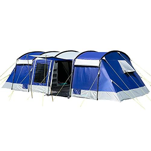 Skandika Tunnelzelt Montana für 10 Personen   Sleeper Technologie, 2, 3, 4 Schwarze Schlafkabinen 5000 mm Wassersäule, Moskitonetz, 4 Eingänge, Familienzelt, große Fenster, großes Zelt (blau)