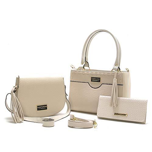Bolsa Feminina Média Transversal, Pequena Mais carteira Santorini Handbag (Creme)