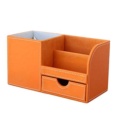 Dosige - Organizador de lápices con compartimentos para lápices, para la decoración de la oficina en casa, color naranja