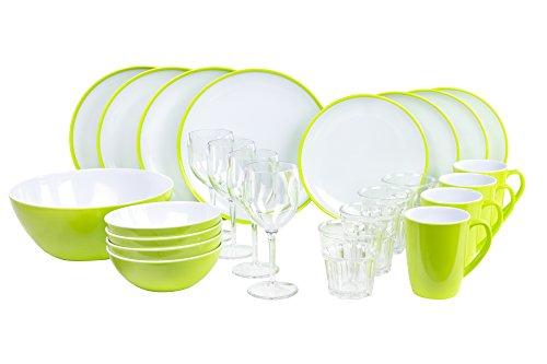 Melamingeschirr-Set Citrus Green Campinggeschirr 4-Personen 25-teilig von Kampa inkl.großer Salatschüssel und 4X Weingläser 4X Wassergläser