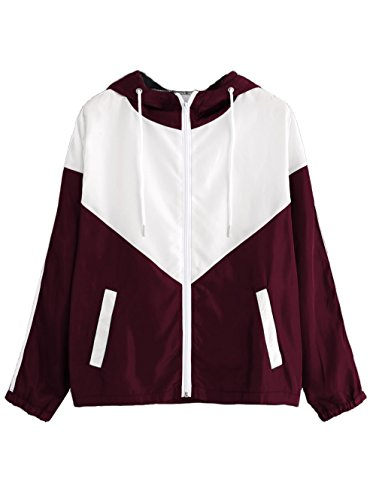 Milumia Women's Color Block Drawstring Hooded Zip Up Sports Jacket Windproof Windbreaker Small White and Burgundy