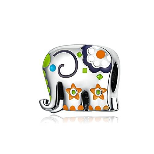 WMYDYBD Cuentas de los Elefantes Felices Coloridos genuinos 925 encimeras de Plata esterlina Encaja Pulsera Original Colgante Regalo de la joyería