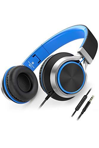 AILIHEN Kopfhörer Mit Kabel Mikrofon Lautstärkeregelung Leicht Faltbar Musik Headsets 3,5mm für Smartphones Laptop MP3 Tablet (Schwarz Blau)