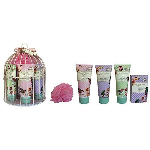 Coffret cadeau beauté pour femme - Cage de Bain en métal blanc - Collection Fresh Bouquet - Grenade/Thé vert/Lavande