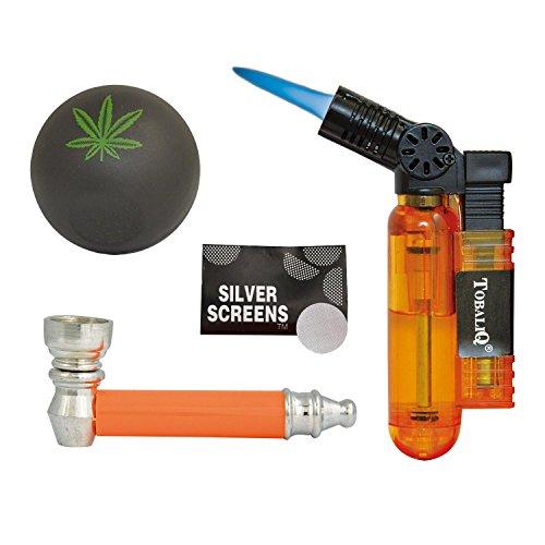 TobaliQ Jamaica Smoking Rescue Kit 4-TLG: Feuerzeug/Brenner, Grinder/Crusher, Pipe, Siebchen in Geschenkbox