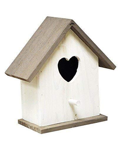 Garden Mile groß weiß Holz Garten Vogel Schachteln Box Vogelhaus Shabby Chic Herz Rotkehlchen Nester für kleine Garten Vögel