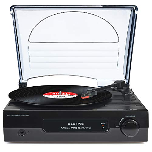 Record Player Vinyl Bluetooth Turntable with Built-in Speakers LP Phonograph 3 Speeds Vintage for Vinyl Records