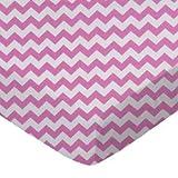 SheetWorld Crib Sheet Set - Bubble Gum Pink Chevron Zigzag - Made In USA