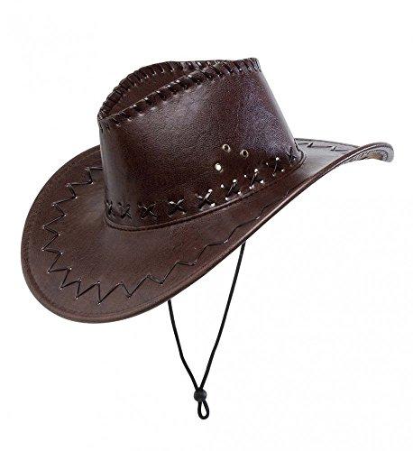 shoperama Brauner Cowboy-Hut aus Kunstleder mit Nähten für Erwachsene Herren Damen