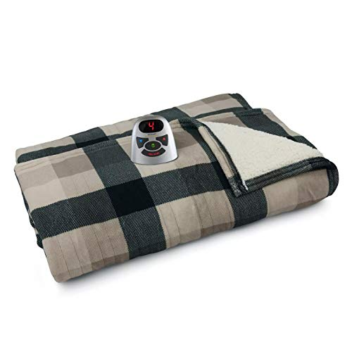 Biddeford Blankets Micro Plush Sherpa Electric Heated Blanket with Digital Controller, Queen, Black/Taupe/Cream Plaid